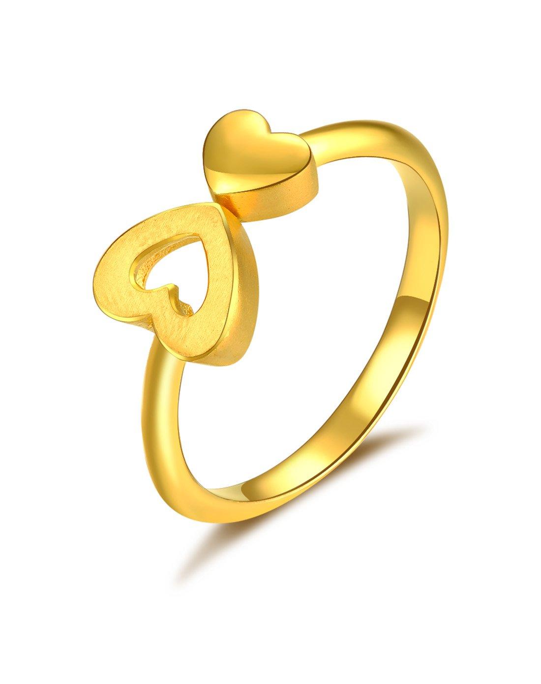 中国黄金足金黄金戒指心连心活口足金戒指精品计价ZGHJJZ1612