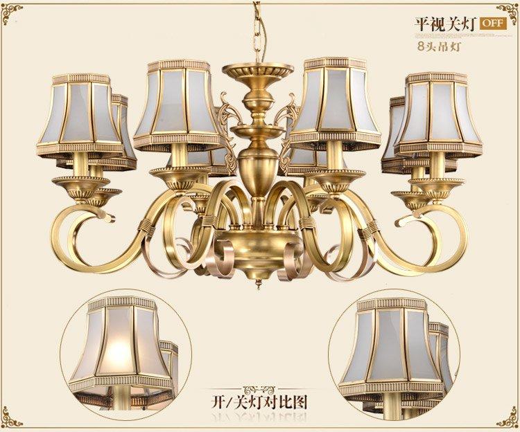 卡信之光灯饰专场直发货 8头欧式吊灯 铜  商品参数 detail 品牌名称