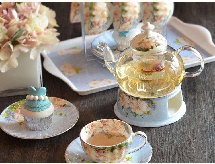 欧式花草茶具套装 1茶壶 1茶炉 4杯4碟图片