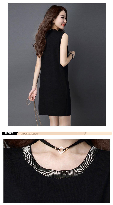 女无袖修身连衣裙针织衫黑色