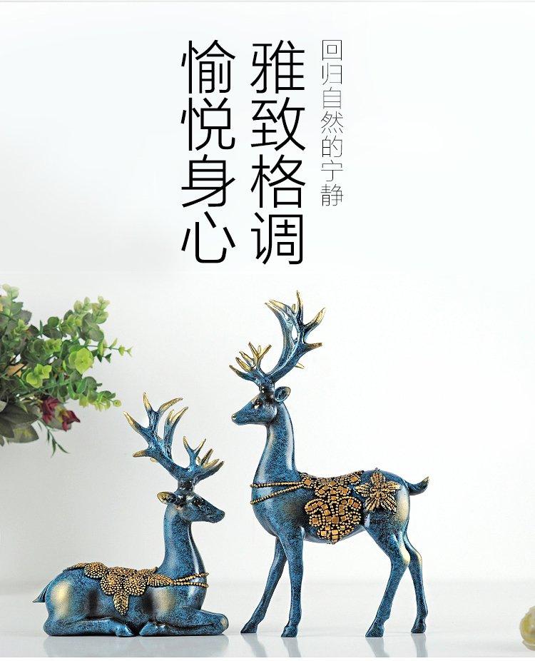 欧式创意家居装饰品客厅酒柜个性摆设树脂软装工艺品情侣鹿摆件