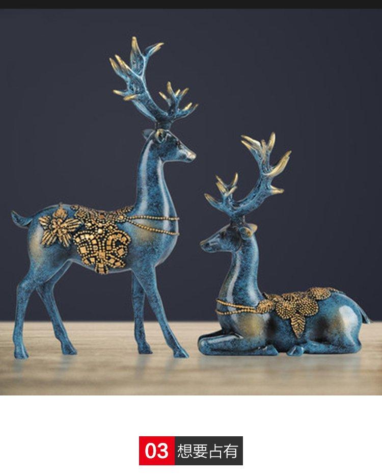欧式家居装饰品树脂软装工艺品情侣鹿摆件