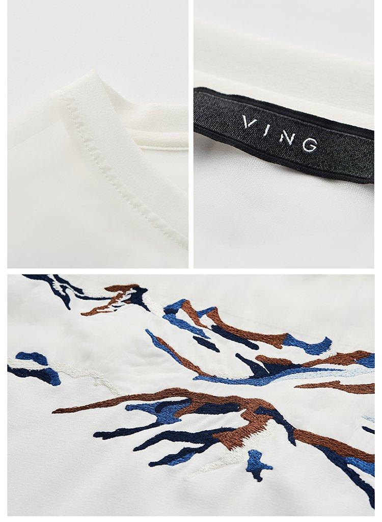 【夏新品】中国风刺绣网纱拼接t恤米白色
