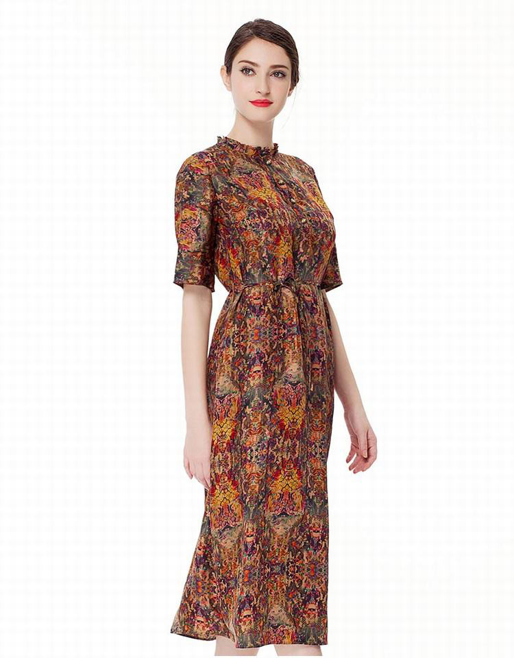 女梭织短袖连衣裙