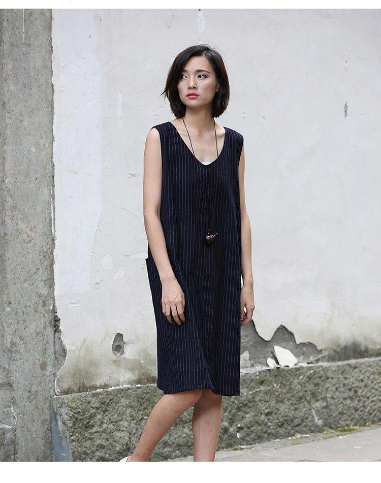 u you.u原创设计师时尚显瘦条纹无袖连衣裙藏青色