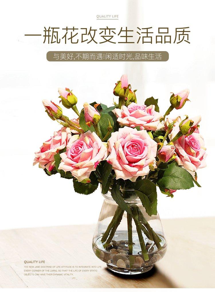 现代简约客厅摆件装饰花瓶玫瑰花艺套装
