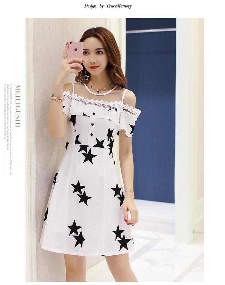 新款网纱拼接甜美可爱星星图案连衣裙白色