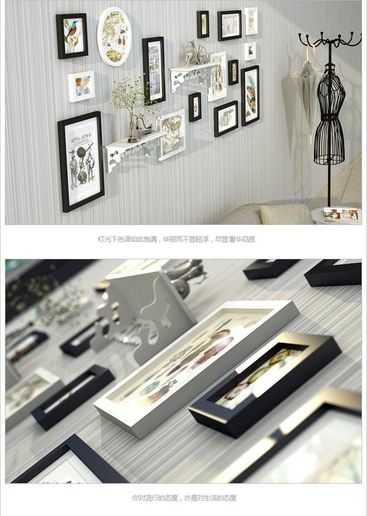 经典异形多框组合实木照片墙 栖鸟
