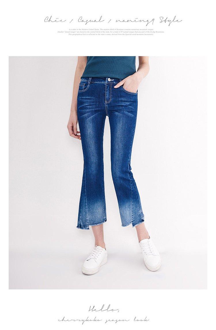 不对称 裤长: 九分裤 适用人群: 青年 图案: 纯色 面料: 弹棉牛仔布