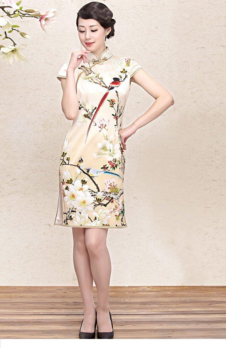 女款印花真丝旗袍