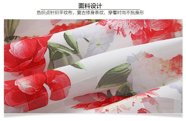 女童短袖连衣裙白底印玫瑰花