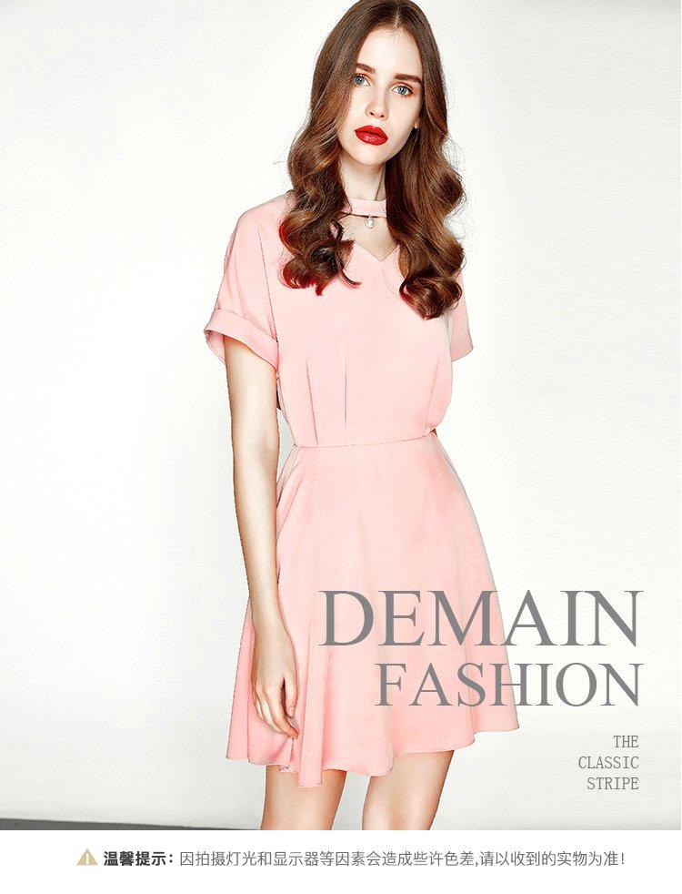 时尚v领前领挂坠装饰大裙摆收腰连衣裙a型裙粉色