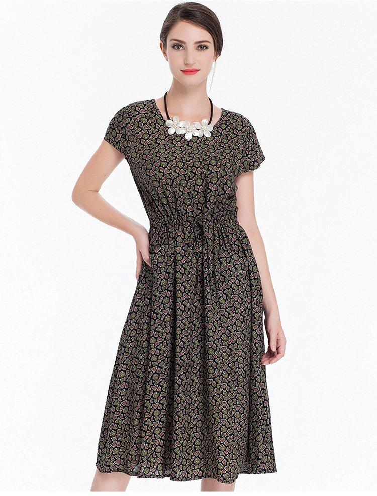 梭织圆领短袖连衣裙图片