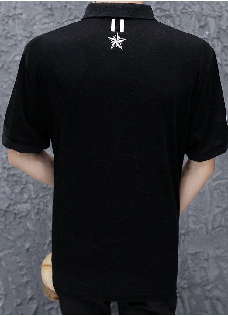 青蛙图案翻领短袖t恤