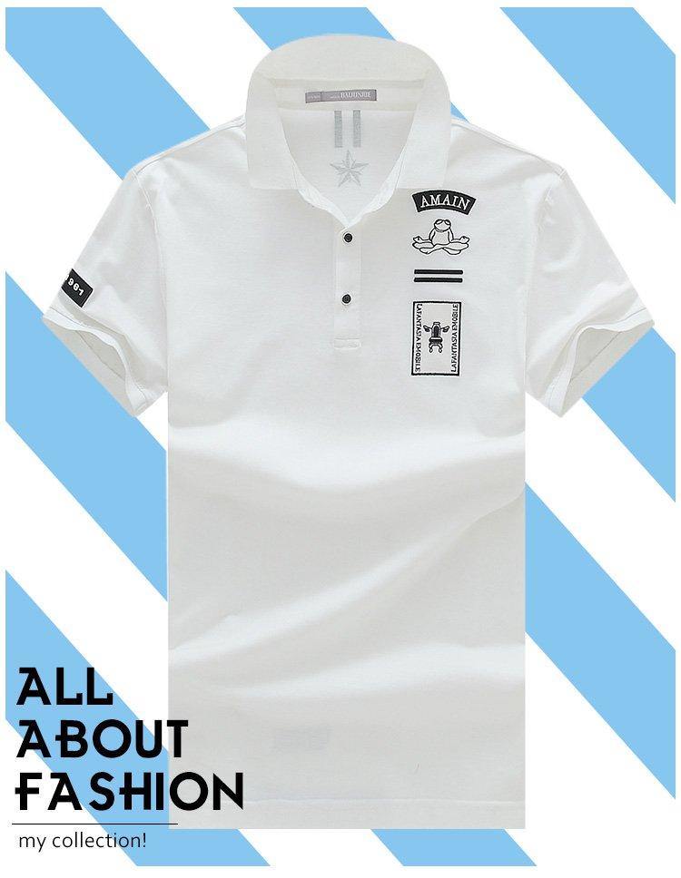青蛙图案翻领短袖t恤白色