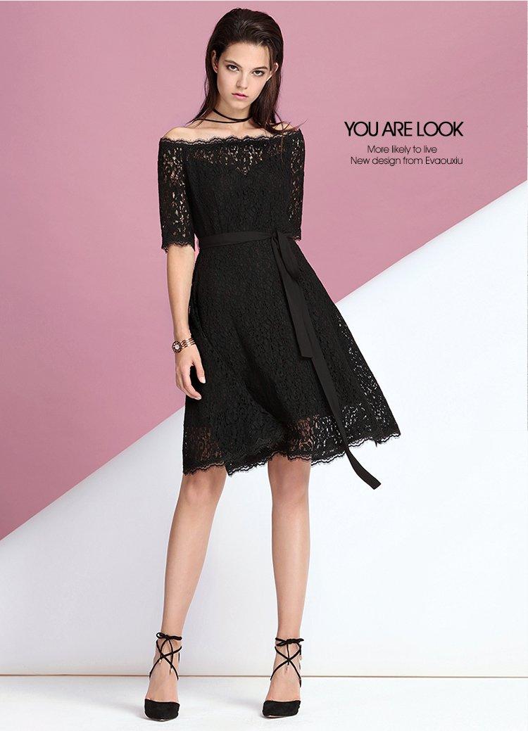 蕾丝连衣裙一字肩a字裙黑色