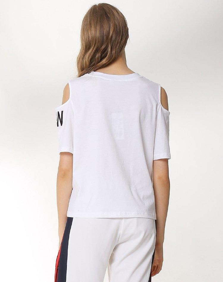 露肩宽松时尚字母印花t恤白色