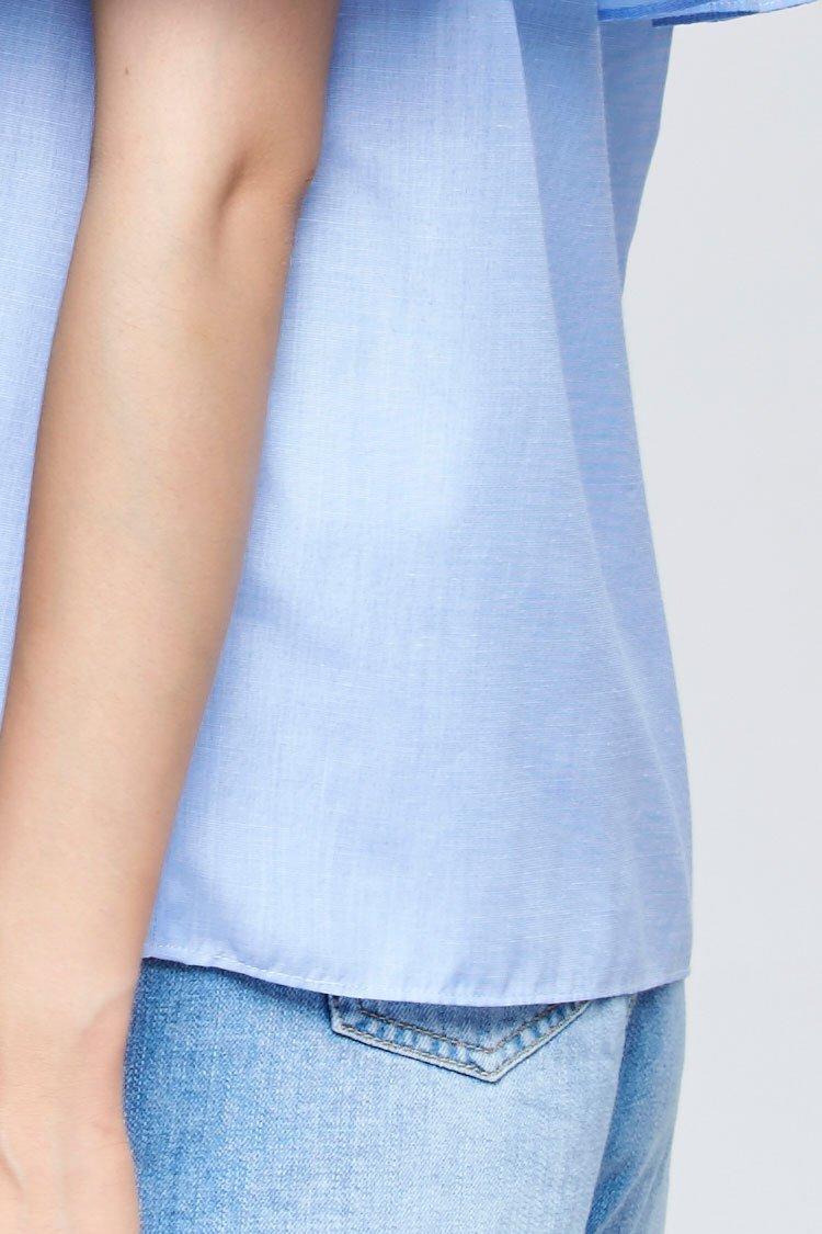 翻领纯色露肩短袖衬衫浅蓝色