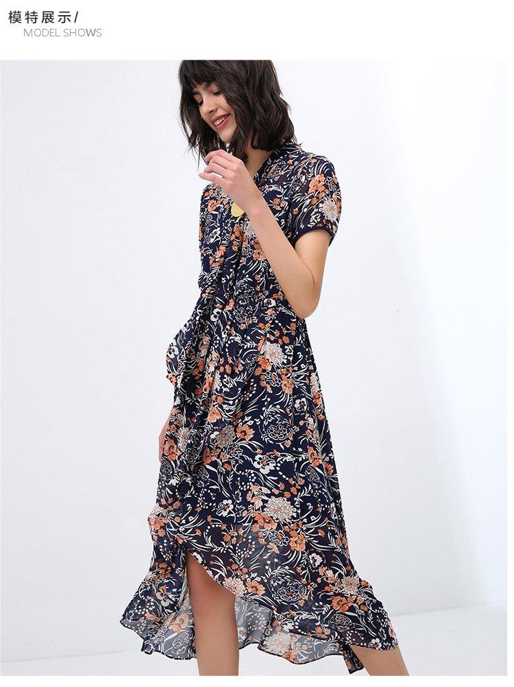 欧美风雪纺印花连衣裙