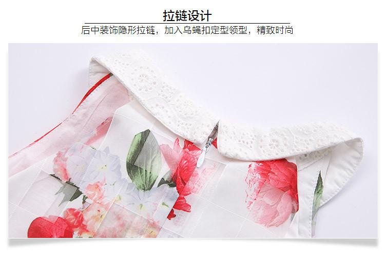 女童无袖连衣裙白底印玫瑰花