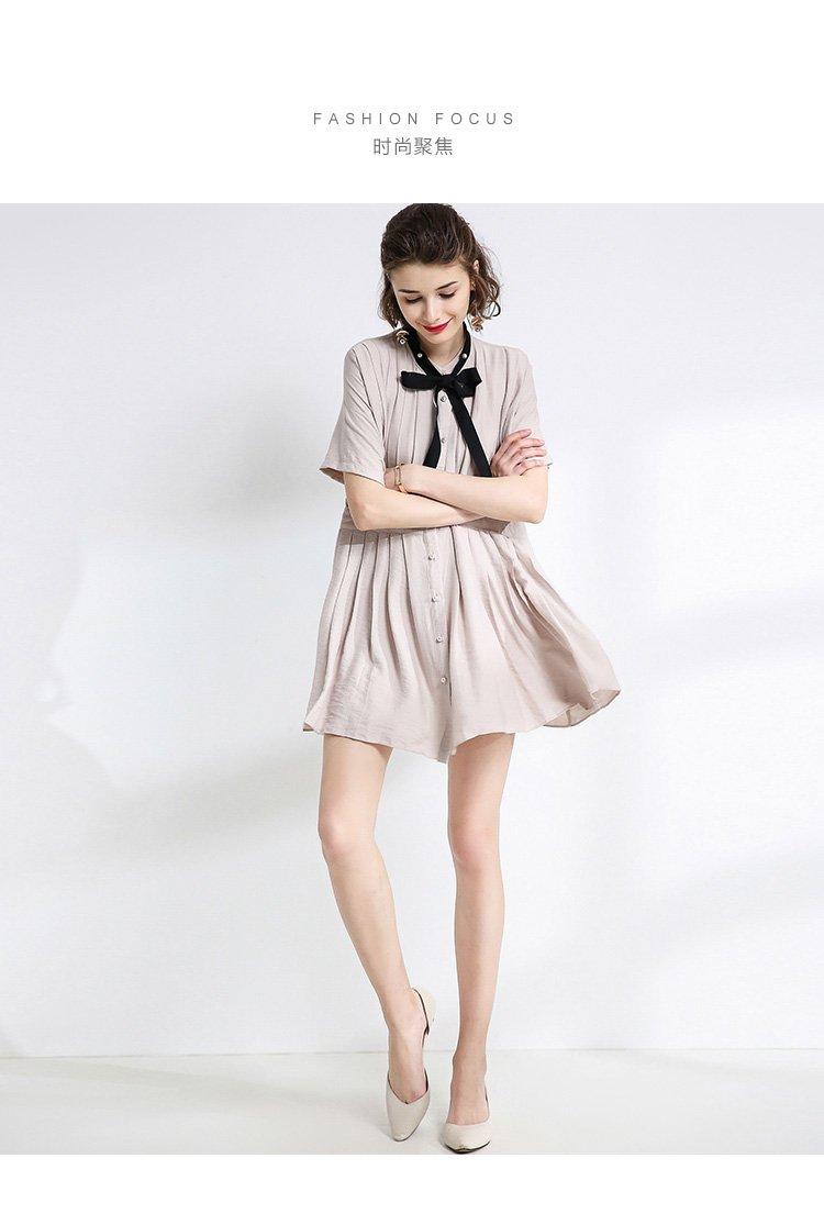 白鹿语-唯品专供 欧美简约复古文艺风褶皱系带连衣裙