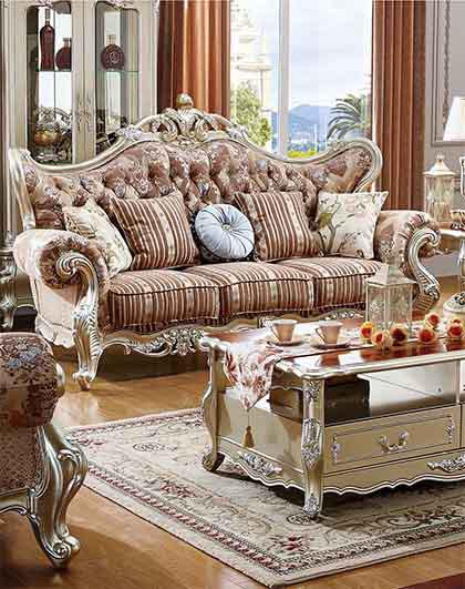 2018年客厅家具精致欧式布艺进口橡木实木沙发组合单人位 贵妃位 三人