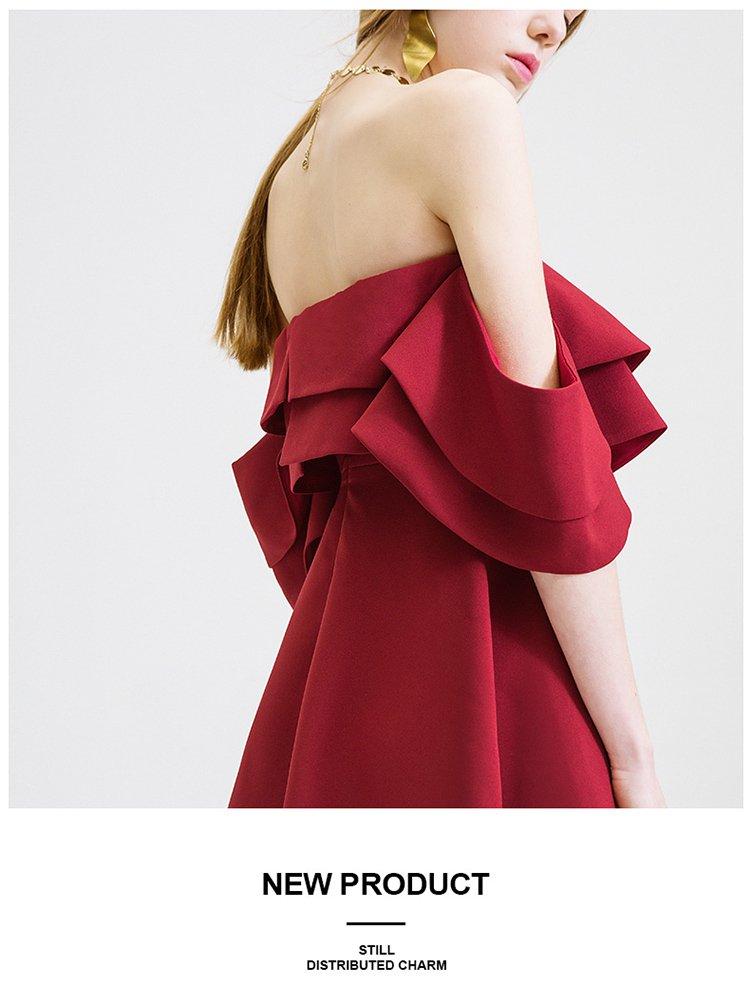 抹胸露肩连衣裙时尚显瘦礼服裙子