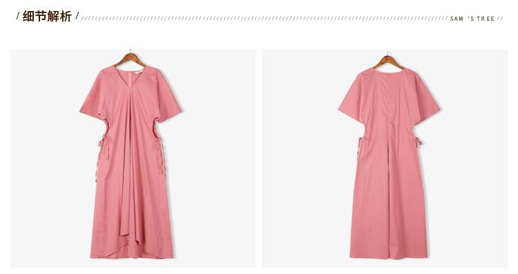 【夏新品】文艺系带收腰v领a型连衣裙印度红堡