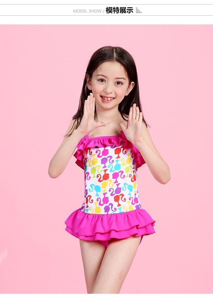 甜美可爱女童裙式连体泳衣