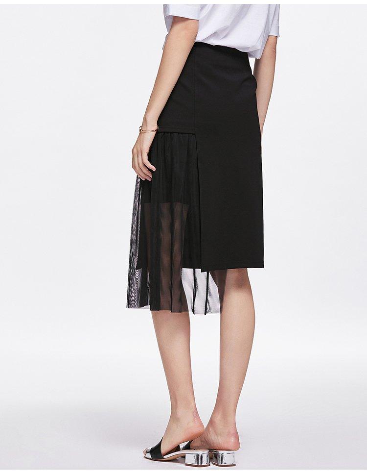 法曼斯 不对称网布拼接半身裙