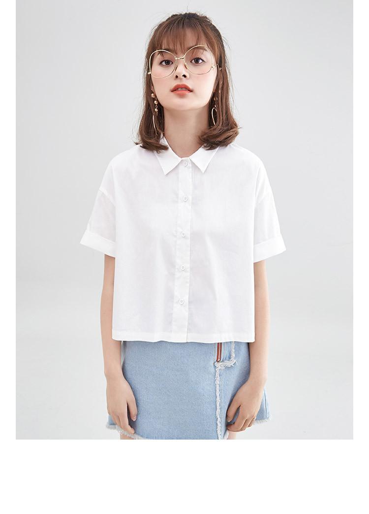 阔色2018原创设计夏季新款女装学生百搭宽松个性创意印花短款衬衣衬衫