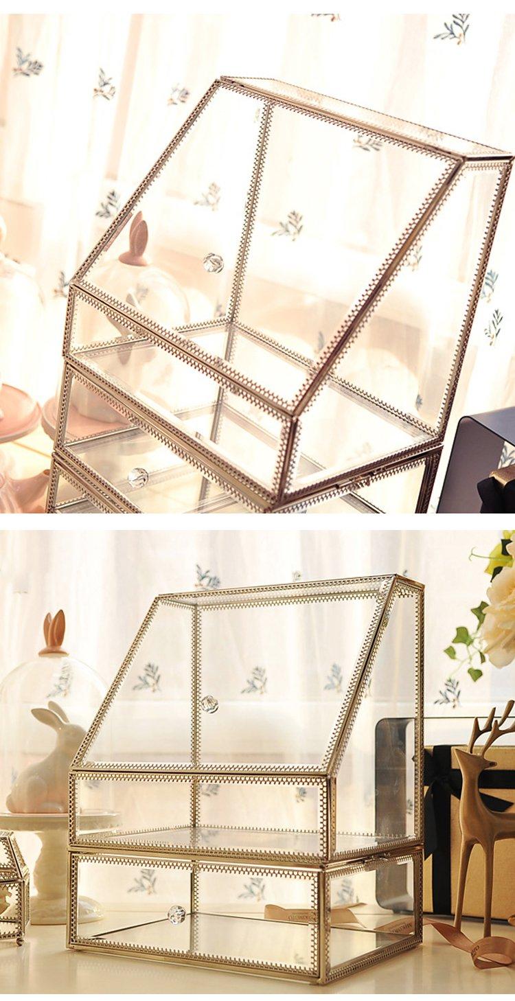 欧式桌面置物架大号花边梯形化妆品收纳盒