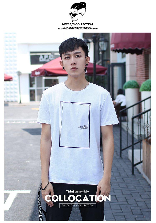 男士棉弹线框留白设计印花短袖t恤白色图片