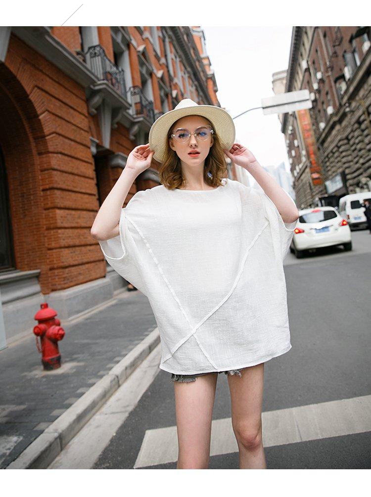 欧美oversize拼接套头衫白色