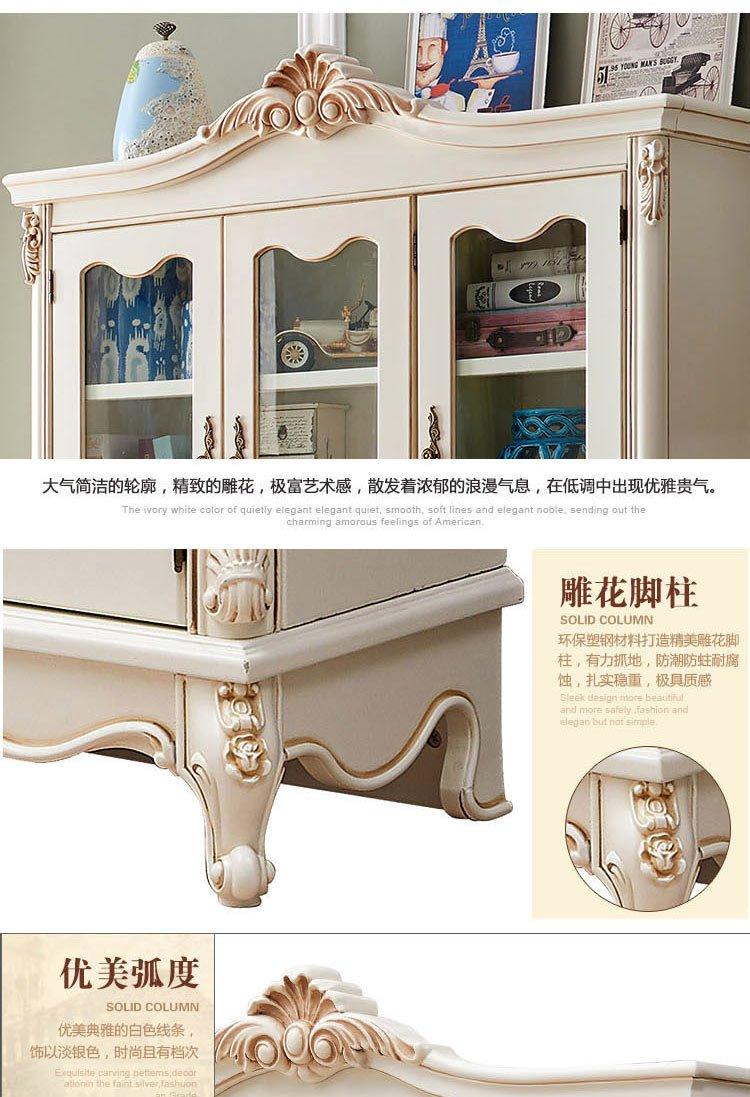 名象家具直发货[小美至佳]实木框架六门雕花书柜仿古