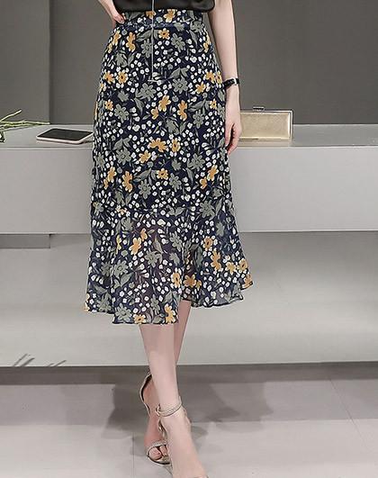 碎花荷葉邊半裙黃花色圖片