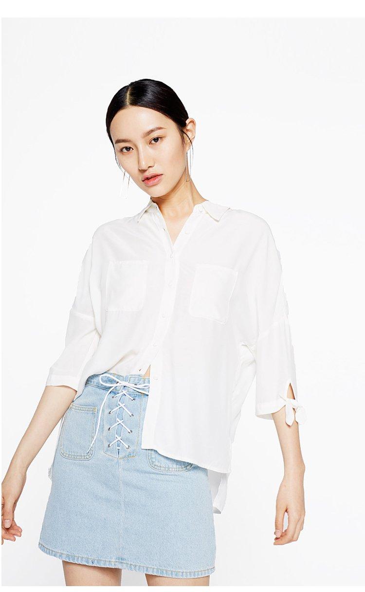 休闲衬衫衬衣女漂白(净色) 产地: 中国 材质: 面料:100%粘纤 洗涤说