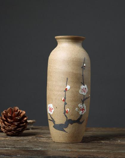 欧式复古客厅书房陶瓷花瓶摆件(圆柱形梅花)