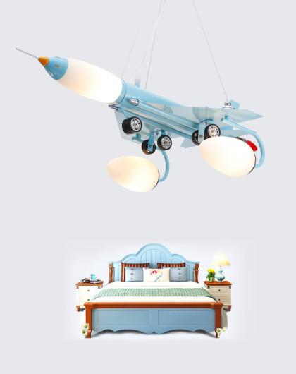 蓝色男孩立体飞机卧室吊灯