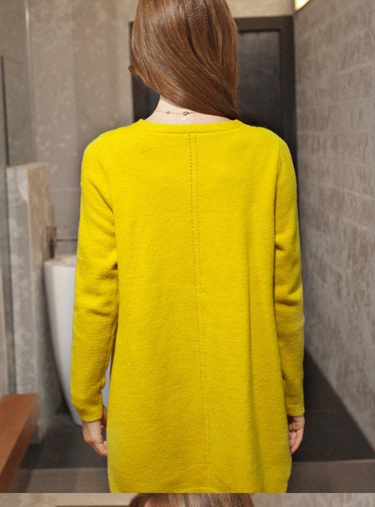 纯色针织开衫外套黄色