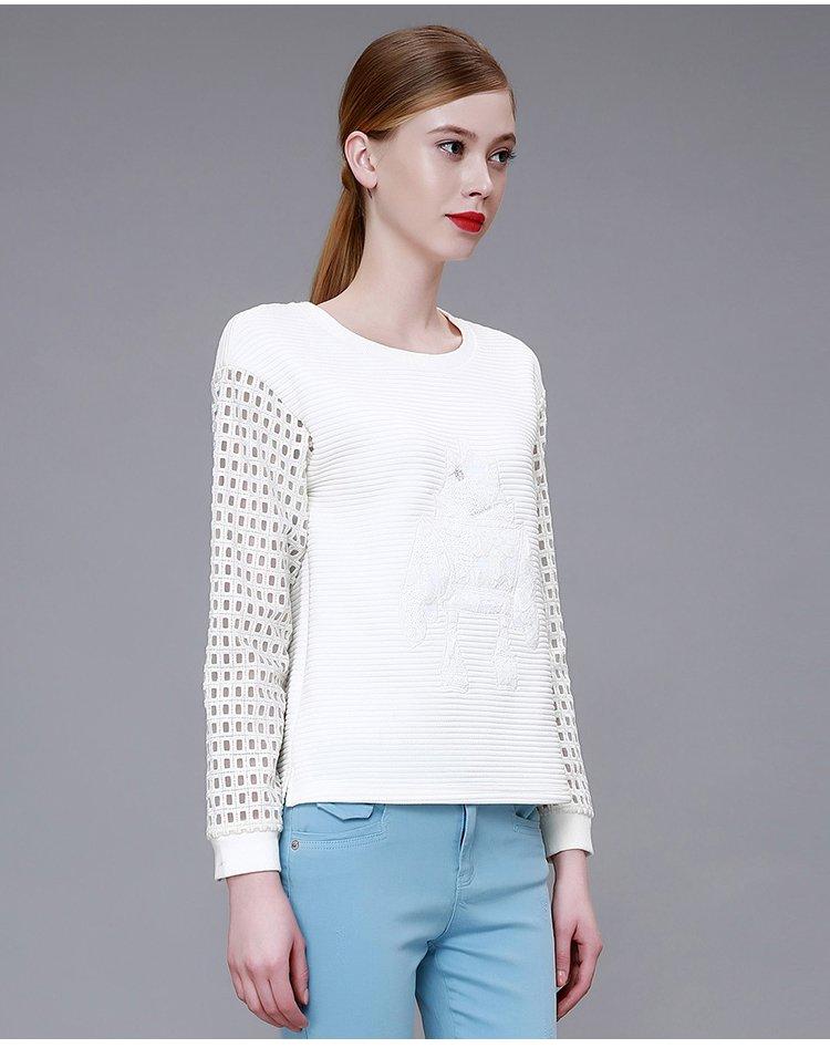 时尚小衫_白色时尚镂空长袖小衫