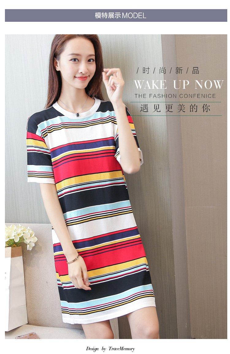 圆领条纹短袖针织连衣裙