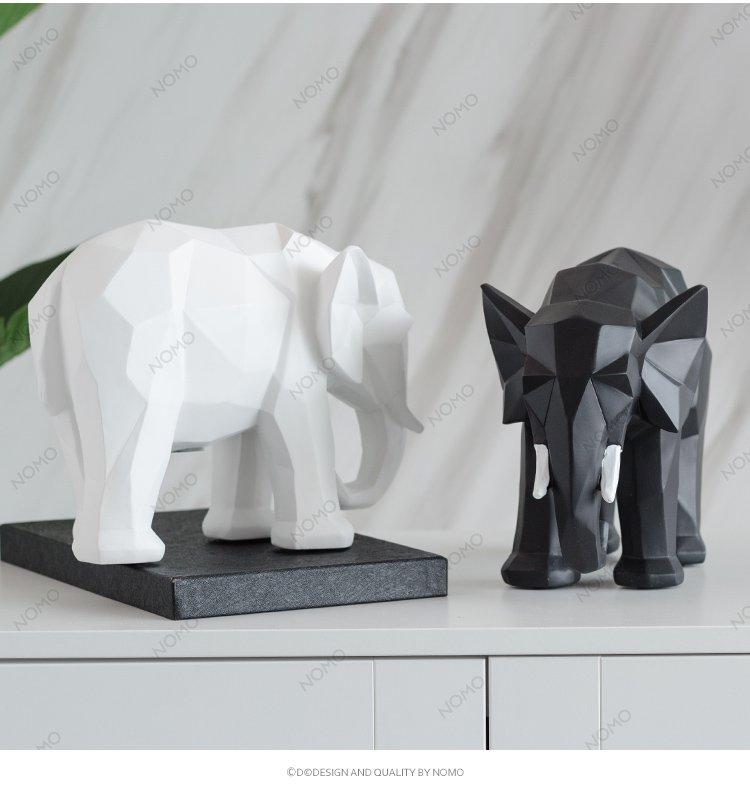 北欧国度埃德温几何动物大象摆件客厅桌面