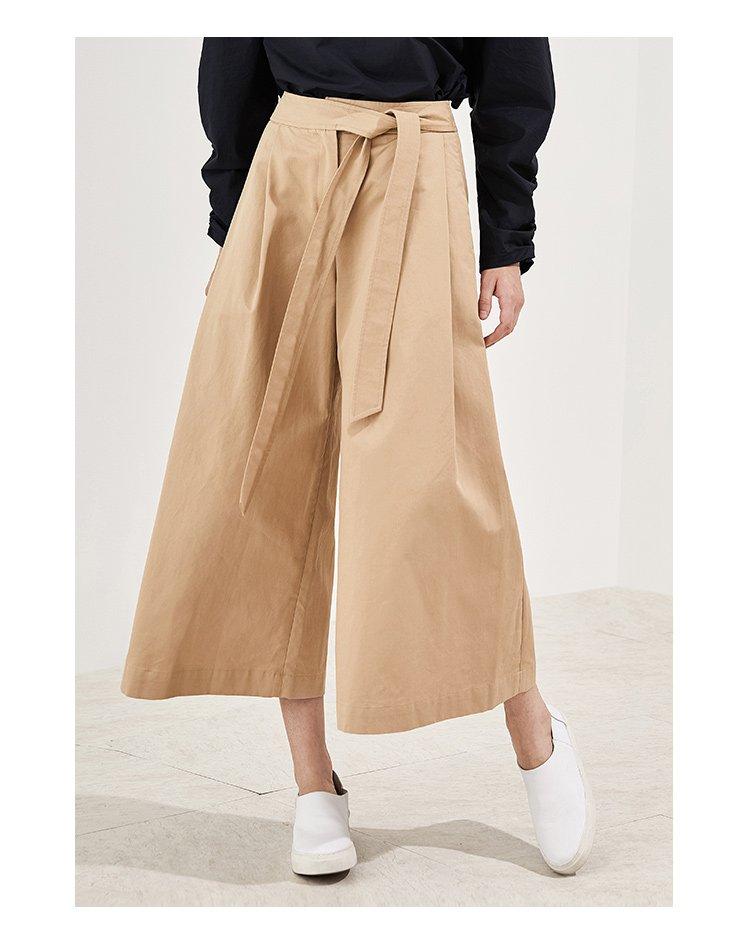 简约休闲不对称腰带打结设计阔腿裤