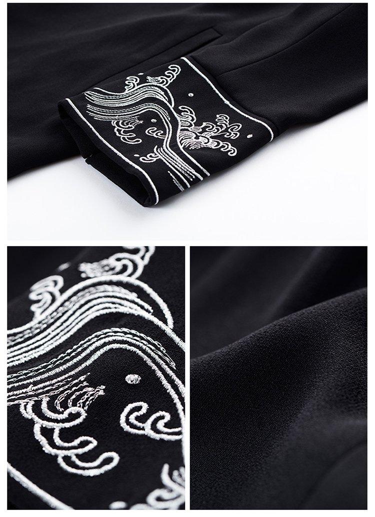 【秋新品】浮世绘海浪刺绣荷叶领飘逸薄外套