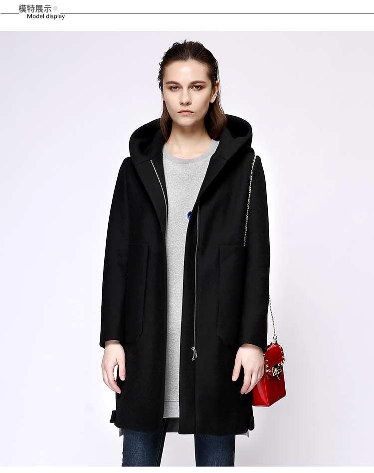 时尚连帽长款呢大衣