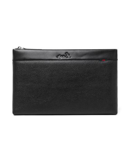 (澳洲袋鼠)男士黑色信封包男包商务手提包牛皮手拿包