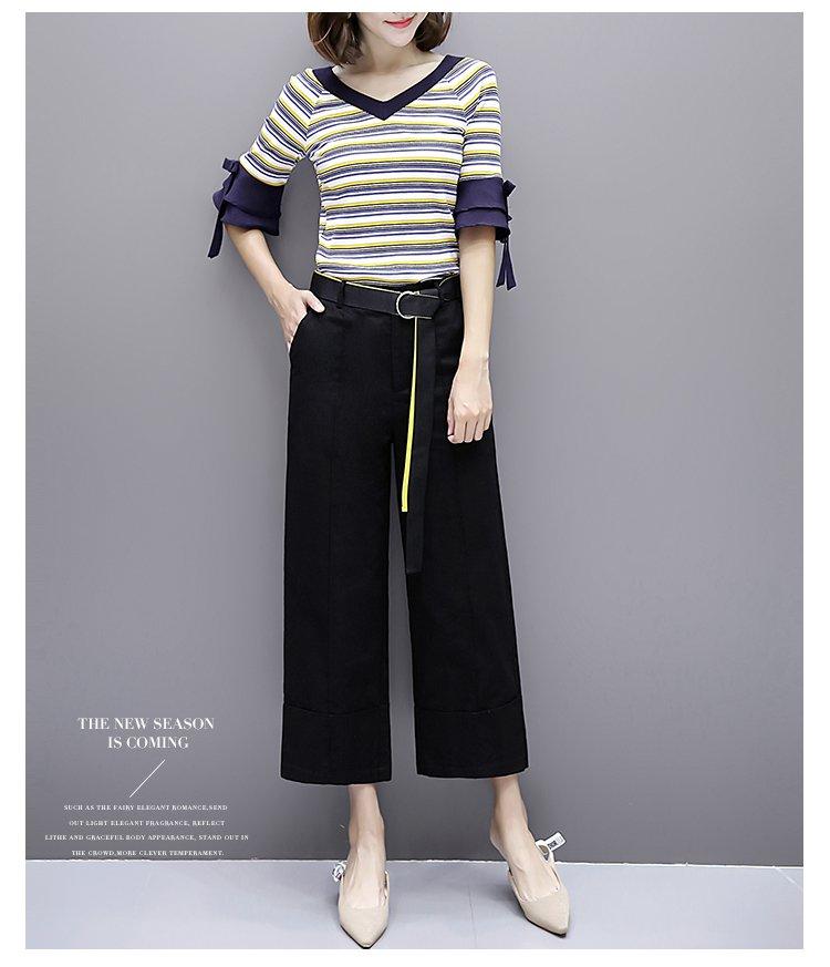 女款时尚休闲撞色腰带织带宽松九分显瘦阔腿裤