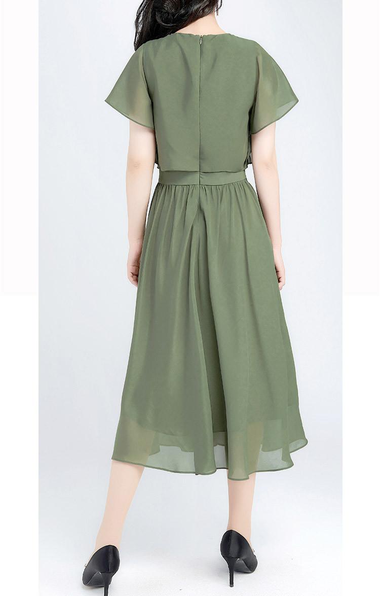 圆领优雅束腰飞飞袖x版短袖连衣裙图片