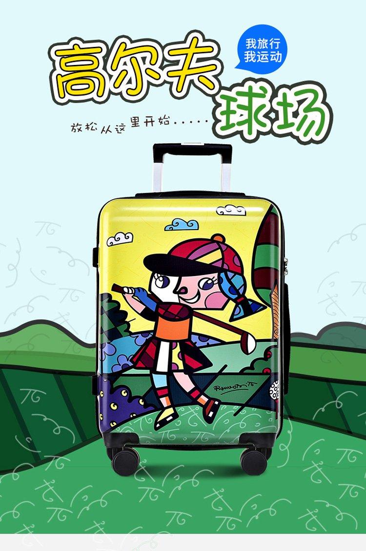 新款潮流涂鸦印花拉杆箱万向轮海关锁行李箱20寸旅行箱